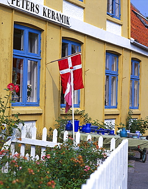 Ceramics shop with danish ensign, Svaneke, Bornholm, Denmark, Europe