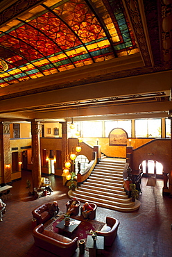 Foyer with glass roof in Gadsden Hotel, Douglas, Arizona, USA, STUERTZ S.96