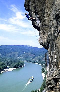 Extremclimbing near Duernstein, Extreme climbing near Duernstein, Wachau, Austria