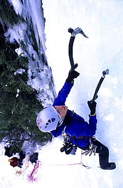 Kirsten Buchmann ice climbing, Carlsberg waterfall, Banff National park, Alberta, Canada