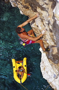 Miroslav Stec climbing Crown Point Route, rock climbing, Hvar, Dalmatia, Croatia