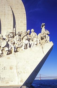 Padrao dos Descobrimentos, Monument to the Discoveries under blue sky, Belem, Lisbon, Portugal, Europe