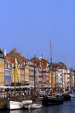 Old houses, boats and CafÈs along the Nyhavn Canal, Copenhagen, Denmark
