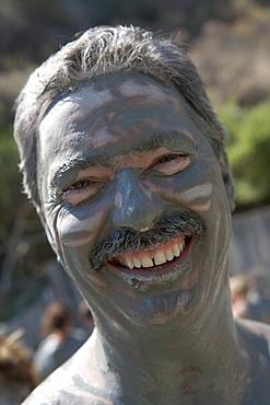 Mud-Faced Man, Mud Bath Relaxation, Dalyan River Mud Baths, Dalyan River, Turkish Aegean, Turkey