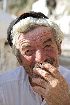 Smoking Greek Man, Fira, Santorini, Cyclades, Greece