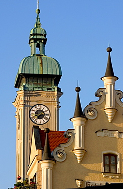 Heilig-Geist-Kirche, Church of the Holy Ghost at Viktualienmarkt, Munich, Bavaria, Germany