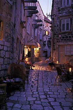 Pavement cafe, Hvar, Hvar island, Dalmatia, Croatia