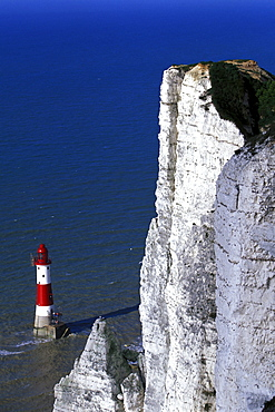 Cliff and lighthouse of Beachy Head, Eastbourne, Sussex, England, Great Britain, Europe