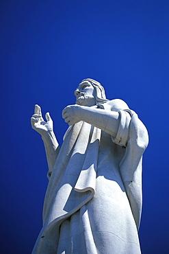 Christ statue under blue sky, Havana, Cuba, Caribbean, America
