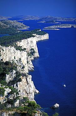 View of cliffs at Telascica Bay Nature Park, Kornati National Park, Zader Archipelago, Croatia, Europe