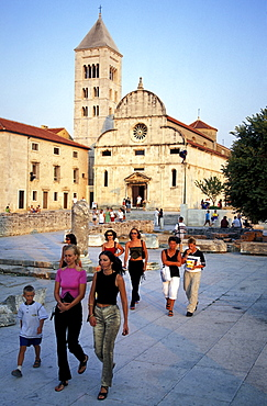 People in front of the Church of Our Lady, Zadar, Dalmatia, Croatia, Europe