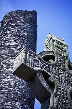 Celtic cross at the historic ruins of Mainistir Bhuithe, Monasterboice, Louth, Ireland