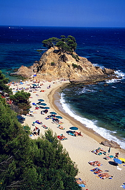 View from the cliff towards the beach, Cap Roig, near Platja d'Aro, Costa Brava, Catalonia, Spain