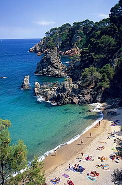 Sandy beach and bay along the coast, Platja del Golfet, Calella de Palafrugell, Costa Brava, Catalonia, Spain