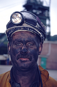 Portrait of a miner, Tower Colliery deep mine, Hirwaun Glamorgan, Wales, Great Britain, Europe