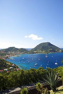 Aerial view of Terre-de-Haute harbour, Les Saintes Islands, Guadeloupe, Caribbean Sea, America