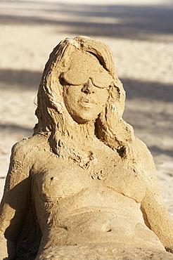 Sand sculpture on the beach, South Beach, Miami, Florida, USA, America