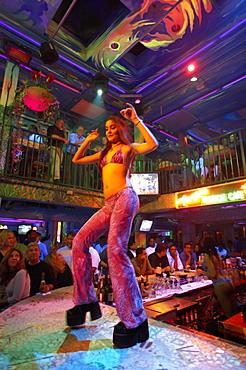 Dancer at Mango's Tropical Cafe, Ocean Drive, South Beach, Miami, Florida, USA, America