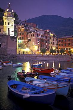 Harbor in the evening, Vernazza, Cinque Terre, Liguria, Italy