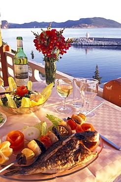 Fish plate, Restaurant, Kas, Lycian coast, Turkey