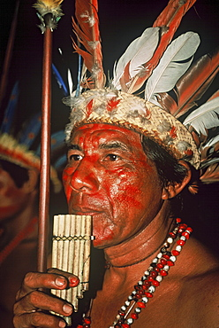 Portrait of a man with feather decorations and facial painting, Native South American Tarianos, Amazonas, Brazil