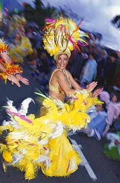 Dancer, Carneval's procession, Santa Cruz de Tenerife, Tenerife, Canary Islands, Spain