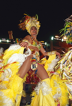 Woman in the carneval costume, Carnival, Santa Cruz de Tenerife, Tenerife, Canary Islands, Spain