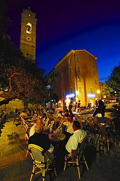Place de la Republique, church, Porto Vecchio Corsica, France