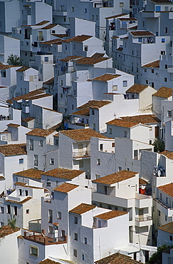 View at white houses and roofs, Casares, Malaga province, Andalusia, Spain, Europe