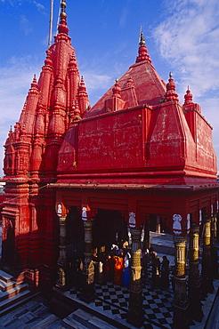 Durga temple in the sunlight, Varanasi, Benares, Uttar Pradesh, India, Asia