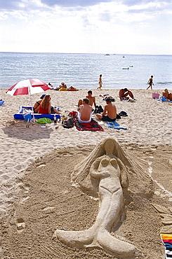 Sand sculpture of a mermaid, Beachlife, Patja de Palma, Arenal, Mallorca, Spain