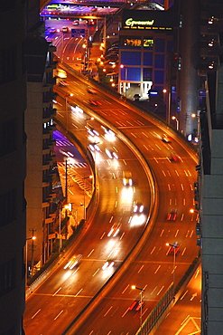 Cars on a highway at night, Shanghai, China, Asia