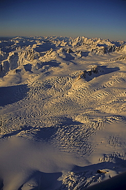 Aerial view of snowfields, glacier landscape, Southern Alps, Westland National Park, South Island, New Zealand