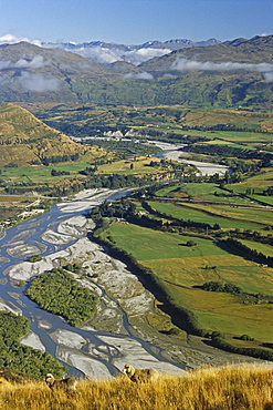 View of riverbed and mountains, Central Otago, South Island, New Zealand, Oceania