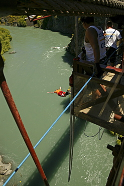 People Bungee jumping above Kawarau River, Otago, South Island, New Zealand, Oceania