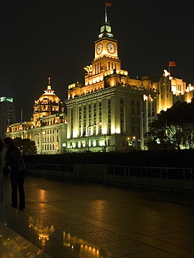 Monumental buildings at night, Huangpu, Shanghai, China, Asia