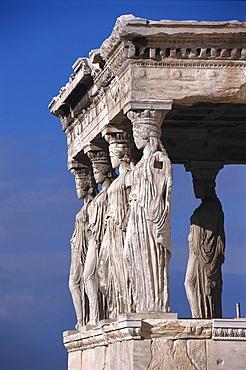 The caryatid porch of the Erechteion, Akropolis, Athens, Greece