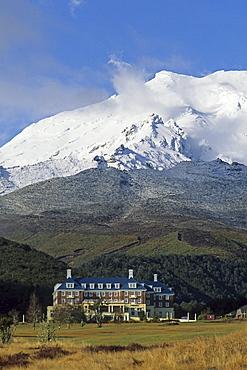 View of The Chateau hotel beneath Mount Ruapehu, Tongariro National Park, North Island, New Zealand, Oceania