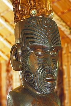 Carved figure in official Maori meeting house, Whare runanga, Waitangi, North Island, New Zealand, Oceania