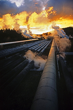 Wairakei Geothermal Power Station, Pipelines and steam at sunset, near Taupo, North Island, New Zealand