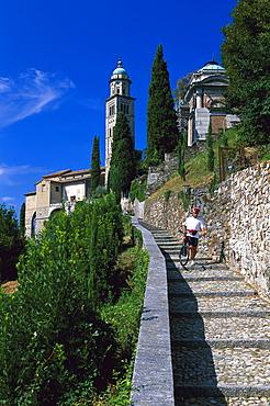 Mountainbiker, Morcote, Lago di Lugano, Ticino, Switzerland