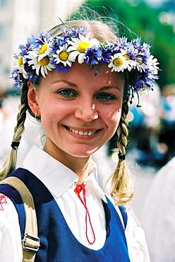 Girl wearing traditional costume, Tallinn, Estonia