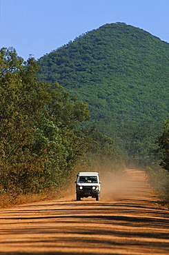 4WD Landcruiser on the dirt road, Development Road, Cape York Peninsula, Queensland, Australia