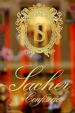 Close up of Sacher company name, Sacher Confectionery, Vienna, Austria, Europe