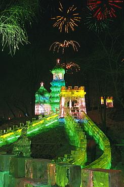 Harbin Ice Lantern Show, Ice Sculptures Harbin, Harbin Zhaolin Park, Harbin, Heilongjiang, Manchuria, China, Asia