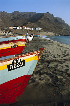 Fisher with angle at the beach of S·o Pedro, S·o Vicente, Cape Verde