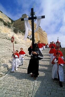 Easter procession on Good Friday, citadel of Bonifacio, Bonifacio, Corsica, France