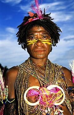 Portrait of a native man, Rabaul, Melanesia, Papua, New Guinea