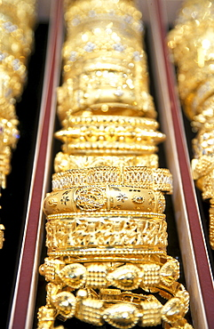 Close-up of golden rings, Souk, Muscat, Oman, Middle East, Asia