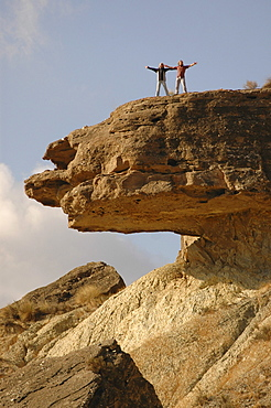 Two people at the top of a mountain, Adventure, Andalusia, Spain